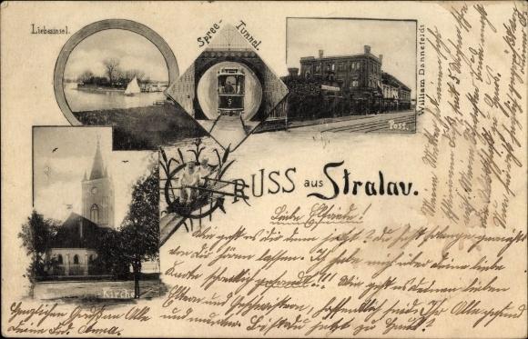 Ak Berlin Friedrichshain Stralau, Liebesinsel, Spreetunnel mit Tunnelbahn, Post, Kirche