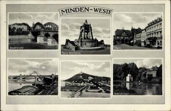 Ak Minden In Ostwestfalen Lippe Weserbrücke Markt Wall Anlagen