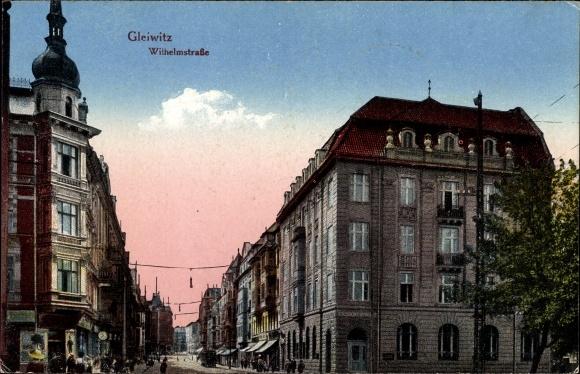 Ak Gliwice Gleiwitz Schlesien, Wilhelmstraße, Gebäude