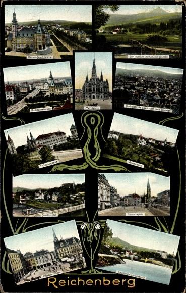 Ak Liberec Reichenberg Stadt, Kaiser Josef Straße, Marktplatz, Radetzkystraße, Altstädter Platz