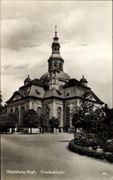 Ak Jelenia Góra Hirschberg Riesengebirge Schlesien, Gnadenkirche, Außenansicht