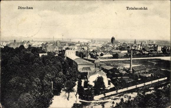 Ak Tczew Dirschau Pommern, Totalansicht, Blick über den Ort