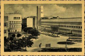 Ak Novi Sad Újvidék Neusatz Serbien, Platz, Hochhaus