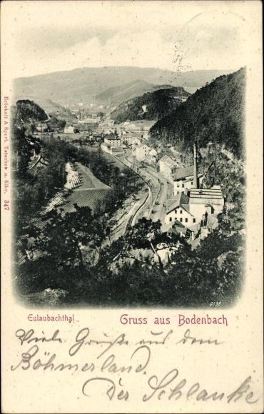 Ak Děčín Tetschen Bodenbach Elbe Reg. Aussig, Blick ins Eulaubachtal, Fabrikgebäude