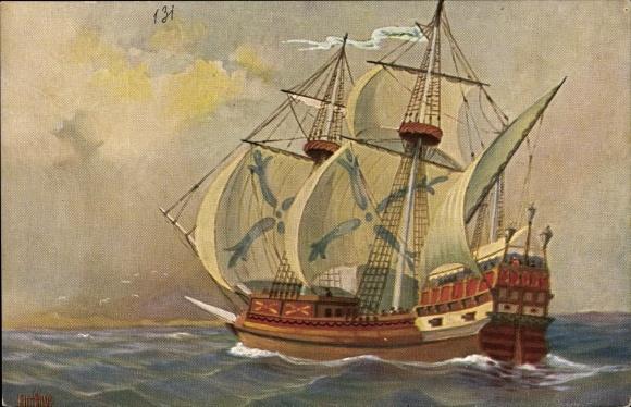 Künstler Ak Rave, Chr., Marine Galerie 131, Englisches Kriegsschiff, 15jh.
