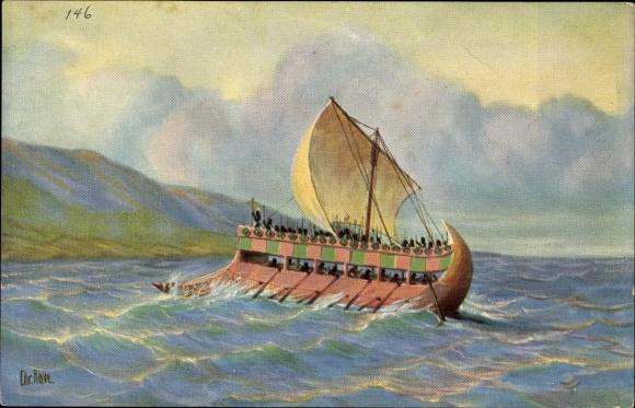 Künstler Ak Rave, Chr., Marine Galerie 146, Kriegsschiff unter Senacherib