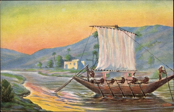 Künstler Ak Rave, Chr., Marine Galerie 218, Getreidebarke unter Paher, 1500 v. Chr.