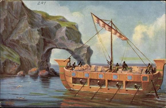 Künstler Ak Rave, Chr., Marine Galerie 241, Assyrisches Lastschiff, 694 v. Chr.