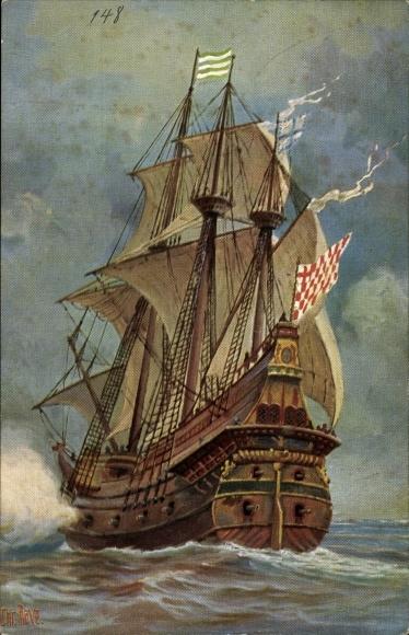 Künstler Ak Rave, Chr., Marine Galerie 148, Kriegsschiff, 16. Jahrhundert