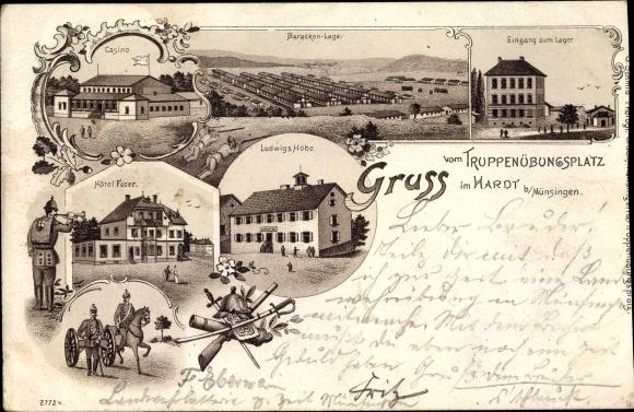 Litho Münsingen in Baden Württemberg, Truppenübungsplatz im Hardt, Hotel Fezer, Baracken, Casino