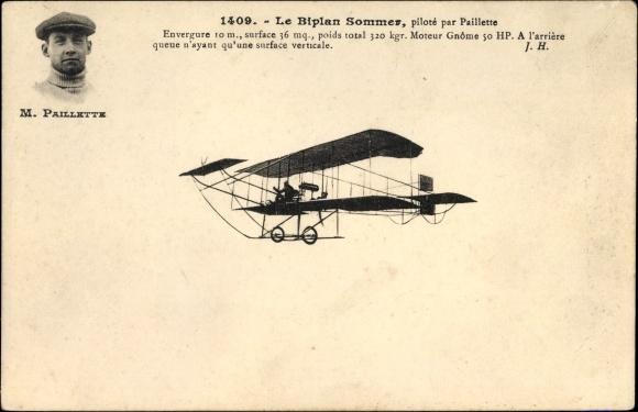 Ak Biplan Sommer, Piloté par Paillette, Pilot, Flugpionier