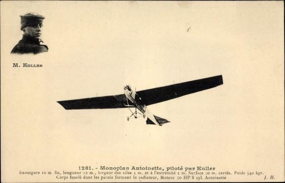 Ak Monoplan Antoinette, piloté par Kuller, Pilot, Flugpionier