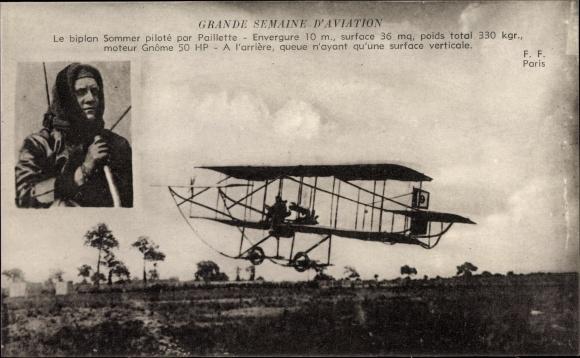 Ak Grande Semaine d'Aviation, Biplan Sommer piloté par Paillette, Pilot, Flugpionier