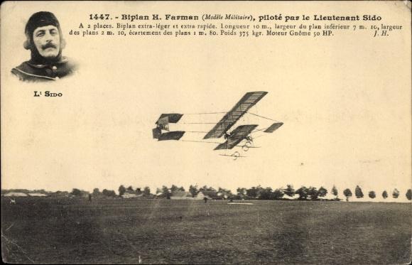 Ak Biplan H. Farman, Modèle Militaire, piloté par le Lieutenant Sido, Pilot, Flugpionier