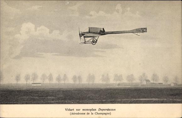 Ak Vidart sur monoplan Deperdussin, Aérodrome de la Champagne, Pilot, Flugpionier