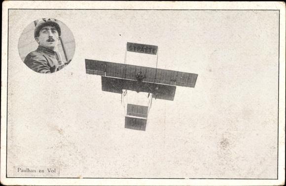 Ak Paulhan en vol, Biplan, Pilot, Flugpionier