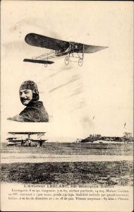Ak L'Aviateur Leblanc, sur monoplan Blériot, Pilot, Flugpionier