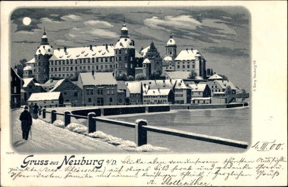 Mondschein Winter Litho Neuburg an der Donau Oberbayern, Schloss im Schnee, Winter