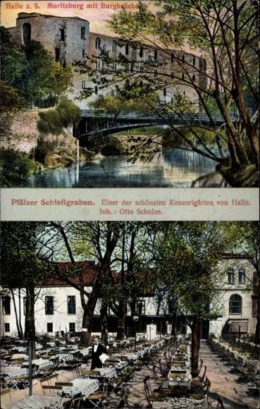 Ak Halle Saale, Gasthof Pfälzer Schießgraben, Inh. Otto Schulze, Moritzburg mit Burgbrücke