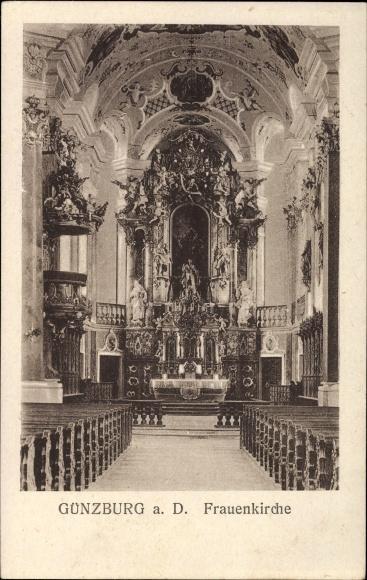 Ak Günzburg in Schwaben, Innenansicht der Frauenkirche, Altar