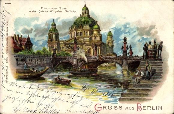 Litho Berlin Mitte, Der neue Dom und die Kaiser Wilhelm Brücke