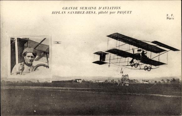 Ak Grande Semaine d'Aviation, Biplan Sanchez-Besa, piloté par Péquet, Pilot, Flugpionier