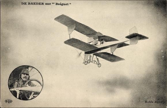 Ak De Baeder sur Bréguet, Aviateur, Biplan en vol, Pilot, Flugpionier