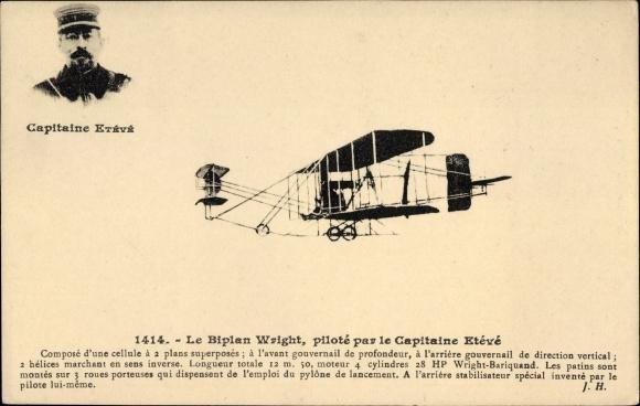 Ak Le Biplan Wright, piloté par le Capitaine Etévé, Pilot, Flugpionier