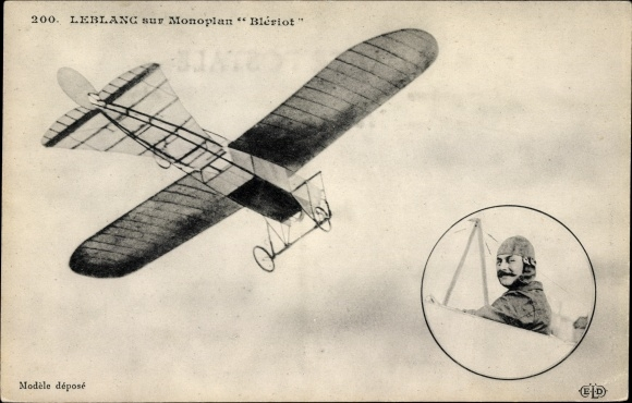 Ak Bleriot im Flieger Le Blanc, Monoplan, Moteur Gnôme