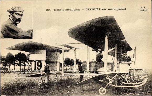 Ak Double monoplan, Breguet sur son appareil, Biplan, Pilot, Flugpionier