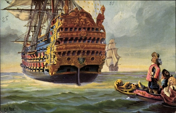 Künstler Ak Rave, Chr., Marine Galerie 25, Franz. Dreidecker, Le royal Louis