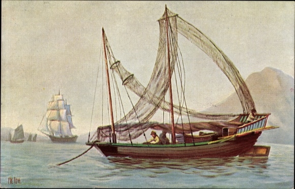 Künstler Ak Rave, Chr., Marine Galerie 104, Großes chinesisches Fischerboot