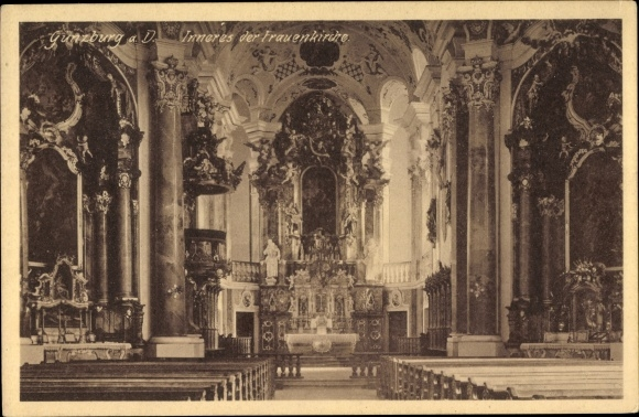 Ak Günzburg in Schwaben, Innenansicht der Frauenkirche