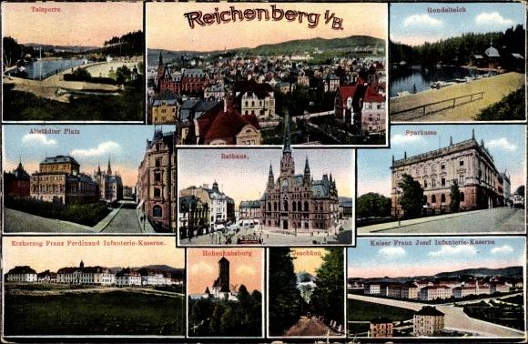 Ak Liberec Reichenberg Stadt, Talsperre, Gondelteich, Altstädter Platz, Rathaus, Sparkasse