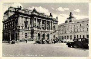Ak Liberec Reichenberg Stadt, Blick auf Theater und Postamt