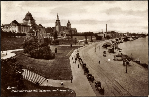 Ak Szczecin Stettin Pommern, Hakenterrasse, Museum, Häuschen