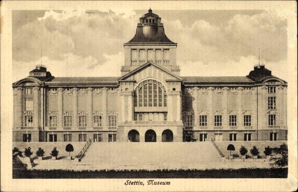 Ak Szczecin Stettin Pommern, Totalansicht vom Museum
