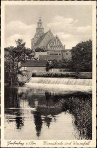 Ak Gryfice Greifenberg Pommern, Marienkirche und Wasserfall