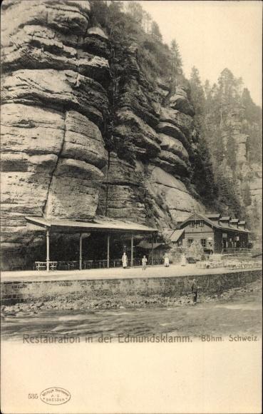 Ak Hřensko Herrnskretschen Elbe Reg. Aussig, Restauration in der Edmundsklamm