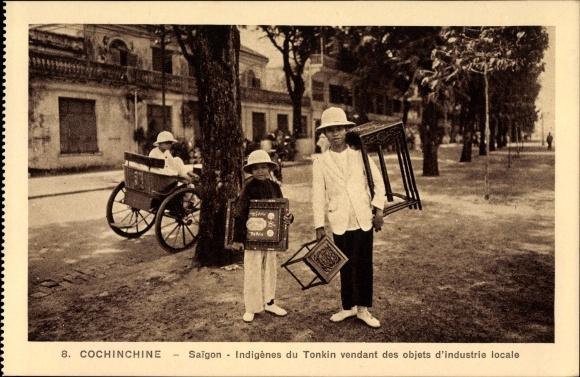 Ak Saigon Cochinchine Vietnam, indigènes du Tonkin vendant des objets d´industrie locale