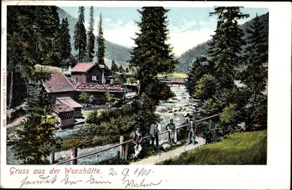 Ak Valepp Schliersee im Kreis Miesbach Oberbayern, Gruss aus der Wurzhütte