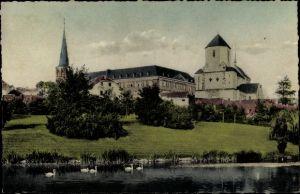 Ak Mönchengladbach Nordrhein Westfalen, Geroweiher mit Blick auf Münster ehem. Abtei u. Pfarrkirche