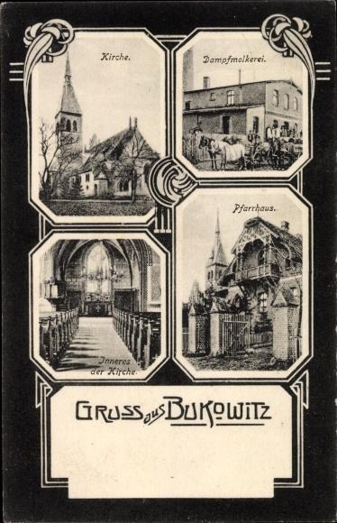 Ak Bukowiec Bukowitz Westpreußen, Kirche, Dampfmolkerei, Kirche, Pfarrhaus