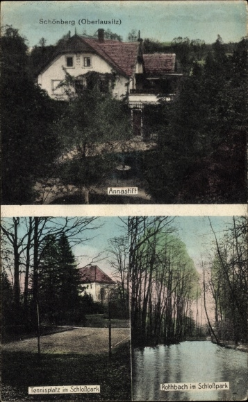 Ak Sulików Schönberg Oberlausitz Schlesien, Tennisplatz im Schlosspark, Rotbach