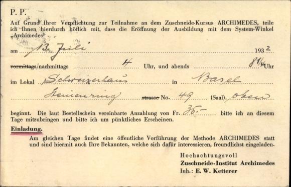Ak Basel Stadt Schweiz, Bestellkarte, Zuschneide Institut Archimedes, Inh. Ketterer