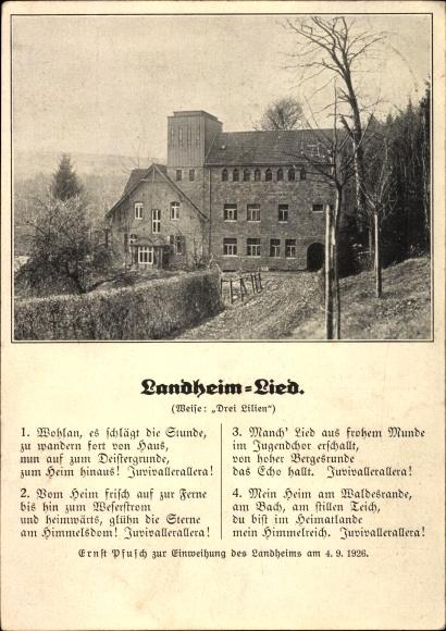 Lied Ak Landheim Lied, zur Einweihung des Landheims am 4.9.1926, Hausansicht, Ernst Pfusch