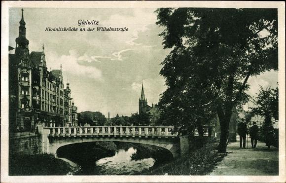 Ak Gliwice Gleiwitz Schlesien, Klodnitzbrücke an der Wilhelmstraße 0