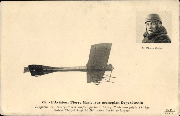 Ak L'Aviateur Pierre Marie, sur monoplan Deperdussin, Pilot, Flugpionier