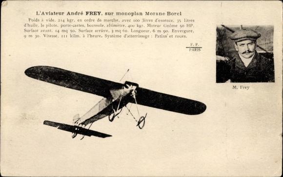 Ak L'Aviateur André Frey, Monoplan Morane Borel, Aéroplane, Pilot, Flugpionier