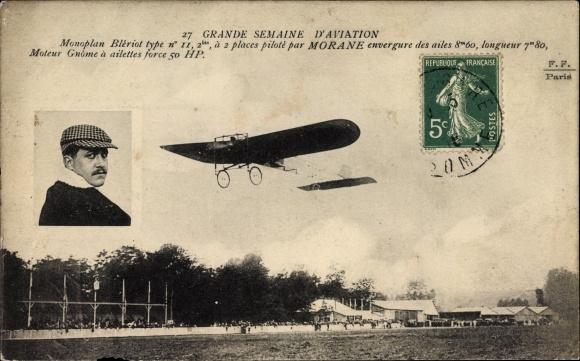 Ak Grande Sameine d'Aviation, Monoplan Blériot type No II, Morane, Pilot, Flugpionier